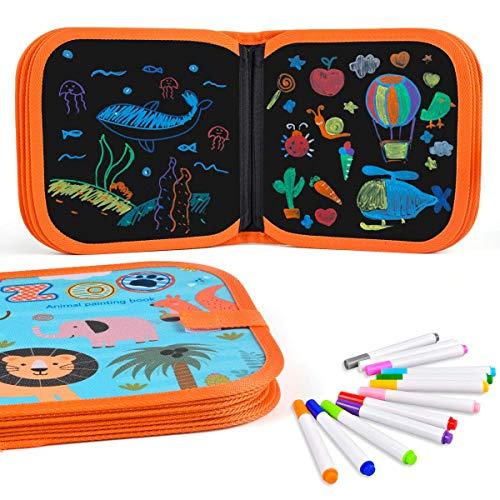Miavogo Libro Da Colorare Con 12 Matite Colorate Per Bambini, Tavolo Da Disegno, Lavabile Riutilizzabile E Portatile - 14 Pagine, modelli di animali