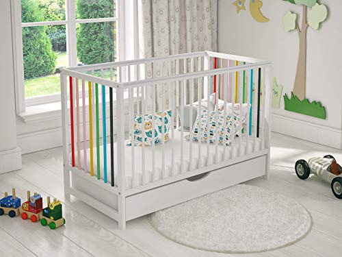 Summer Wooden Baby Cot Bed 120x60cm Free Deluxe Aloe Vera Mattress, Safety Wooden Barrier & Teething Rails