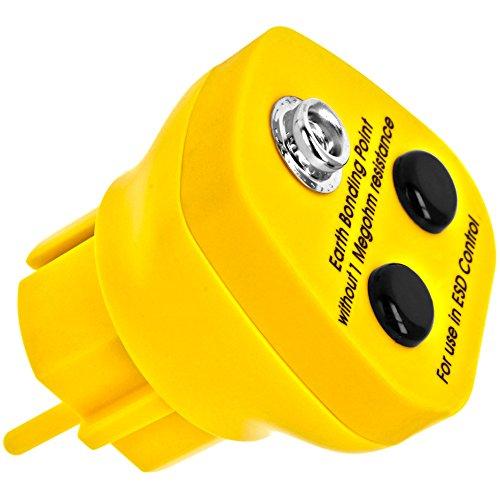 Minadax® Erdungsbaustein - EBP - Innovativer ESD-Schutz - Antistatik Erdungsstecker Schutzkontaktstecker - Deutscher Steckdosen-Standard - 1 x 10 mm Druckknopfbuchse