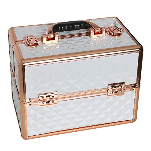 YOURLITEAMZ Makeup Train Cases Professional Cosmetic Box Travel Organizer (White+Gold)