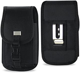 XXL SIZE Samsung Galaxy Note 5/4/3/2 Rugged Heavy Duty Vertical Nylon Case Pouch Holster with VELCRO Closure with Belt Clip (fits OTTER BOX Defender / LIFEPROOF / Extended Battery or Thick Case On)