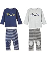 Zanie Kids Unisex Baby's Long Sleeves Pajama Sets Smile Print Cotton Baby Clothes, 2-Pack, Navy & Gray, 18-24 Months