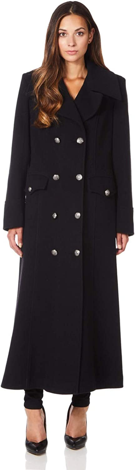 De La Creme Womens Long Military Wool Cashmere Winter Coat