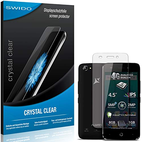 SWIDO Bildschirmschutz für Allview P5 Lite [4 Stück] Kristall-Klar, Hoher Festigkeitgrad, Schutz vor Öl, Staub & Kratzer/Folie, Schutzfolie, Bildschirmschutzfolie, Panzerglas Folie