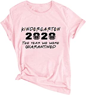 Women Loose T-Shirt Tops, Ladies O-Neck 2020 Letter Printed Short Sleeve Blouse Pullover Tops
