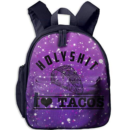 Holy Shit I Love Taco Toddler Mini Backpack Shoulder Schoolbag with Front Pockets