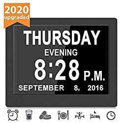 [16 Reminders] Electronic Clock 8 Inch Day Alarm Calendar Large Clocks Dementia Alzheimers Sufferers Elderly Seniors Memory Loss Impaired Vision Video Products-Black