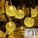 LED Lichterkette Batterie, 5M 50LEDs Fernbedienung 8 Modi Lichterketten Außen Batterie Wasserdicht Kristall Kugeln, TIMER Dimmbar Lichterkette Draussen für Innen und Außen Dekoration, Warmweiß