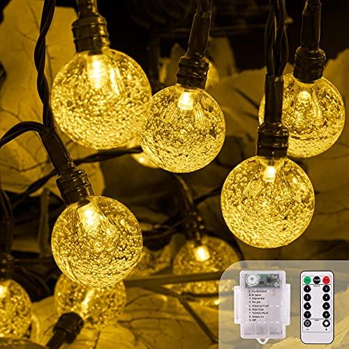 LED Lichterkette Batterie, 5M 50LEDs Fernbedienung 8 Modi Lichterketten Außen Batterie Wasserdicht Kristall Kugeln, TIMER Dimmbar Lichterkette...