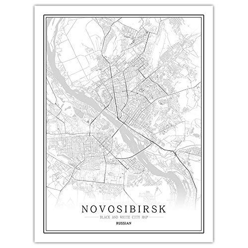 Stampa su Tela, Novosibirsk Russia Mappa della Città Dipinto Nero Bianco Semplice Arte Murale Poster Cornice Meno Foto, Pittura Verticale caffè Ufficio Decorazioni per La Casa,60 * 80cm