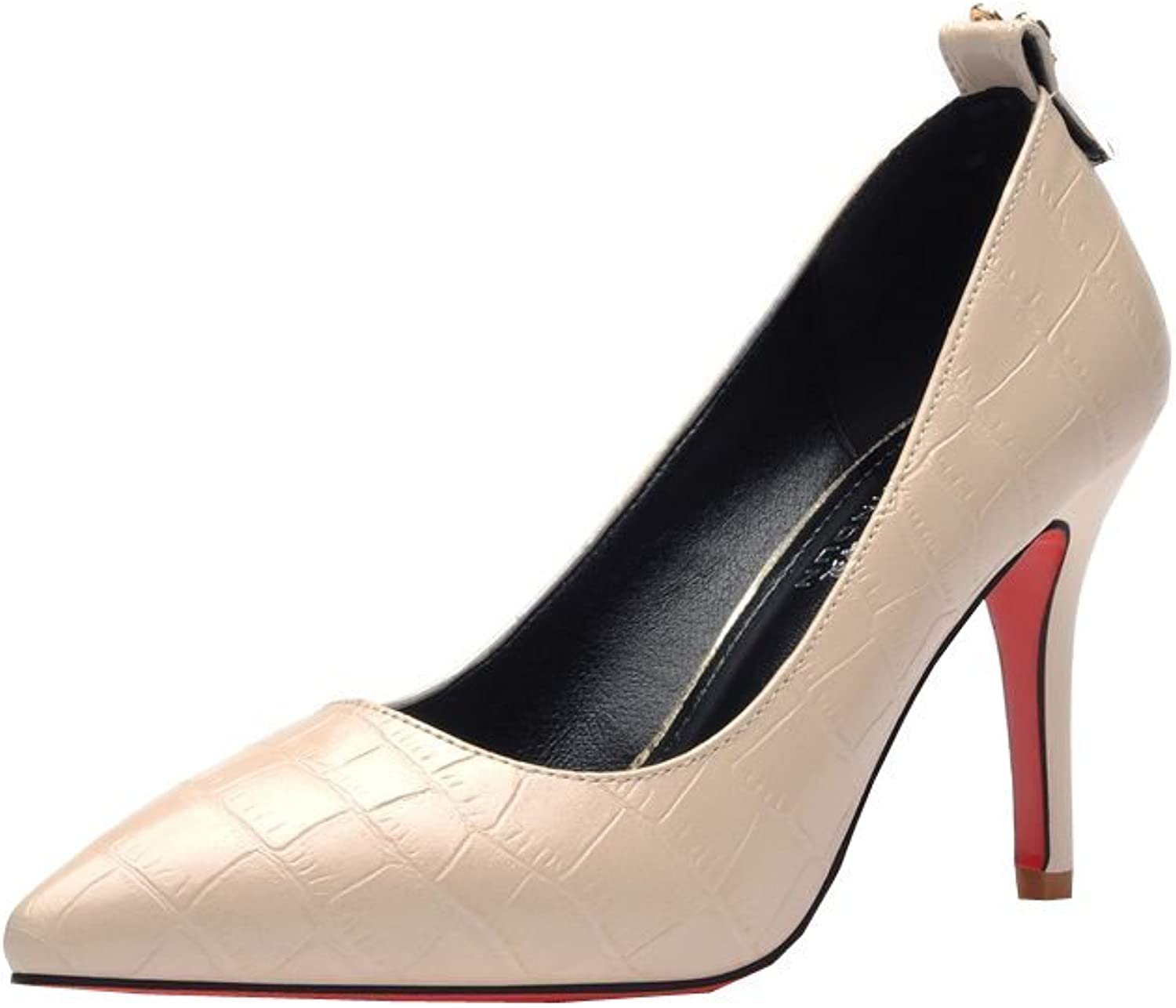Ryse Women's Delicate Pattern Bowknot Elegant Temperament High Heels Pointy shoes
