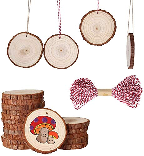 """Fezzia Unfinished Wood Slices 20 Pcs 3.5""""-4.0"""" Diameter 0.4"""" Thick Natural Predrilled with Hole Craft Wood Kit Wooden Circles Great for Arts and Crafts Christmas Ornaments DIY Crafts Gifts"""