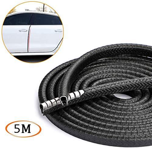 YY-LC Protección de Goma de Puerta de Coche,Protección de Goma de Puerta Goma Borde de Coche Caucho Sello Protección de Borde Metal (5M)