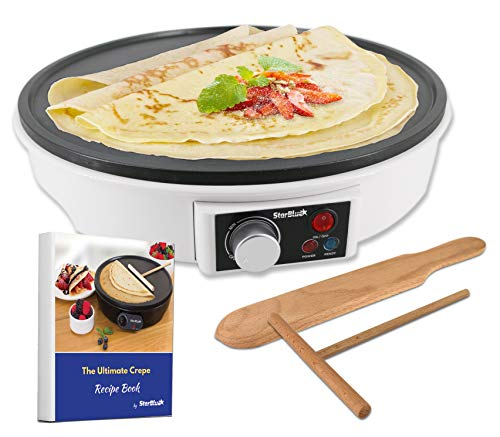 12' Electric Crepe Maker by StarBlue with FREE Recipes e-book and Wooden Spatula - Nonstick and Portable Pan, Compact, Easy Clean with On/off button AC 120V 50/60Hz 1000W