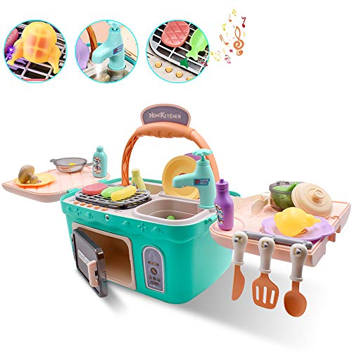 Acelane Kids Play Kitchen Set Picnic Basket Toy with Music amp Light Color Changing Play Foods Play Water Sink Pretend Play Oven Kithchen Cooking Utensils Gift for Toddler Girls Boys Age 3 4 5 6 7