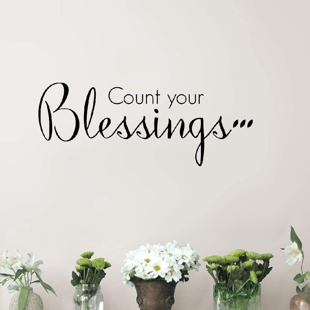 Quote Wall Decal Sticker Nursery Vinyl Saying Lettering Wall Art Inspirational Wall Decor Count Your Blessings Christian God Scripture Bible Verse Home Kitchen