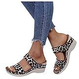 FeelFree+ Sandalia de Cuna para Mujer,Sandalias Mujer Plataforma,Zapatos Verano 2021 Mujer Cabeza Redonda Leopardo Estampado Serpiente Flores Comodos Tacn Alto Cua,Zapatillas Lnea Sandalias