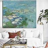 Wfmhra Impresión en Lienzo Arte de la Pared Pintura al óleo Lotus Pond Lotus Impresionismo Pintura al óleo Póster Imagen Sala de Estar 50x70cm Sin Marco