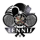 LBJZD Horloge Murale Tennis Logo Raquette Court Balle Décor Vinyle Record Horloge Murale Tournoi Tennis Match Grand Chelem Mur Tennis Joueurs Cadeau sans Lumière LED