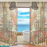 Vinlin Fenstervorhang London Vintage Voile Gardine für Schlafzimmer Wohnzimmer 2 Paneele 139,7 x 198 cm, Multi, 55x84x2(in)