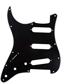 Musiclily 11 Hole Left Handed Strat Guitar Pickguard SSS Scratch Plate for USA/Mexican Fender Standard ST Stratocaster Standard Guitar Replacement, Glossy Black 3 Ply