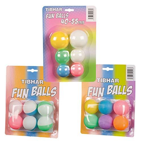 Tibhar Tischtennisbälle   buntes Ball-Set Fun   Ping-Pong Bälle in verschiedenen Größen   Kunststoff   40mm bis 55mm