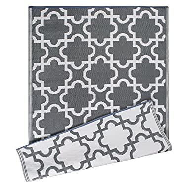 DII Moroccan Indoor/Outdoor Lightweight, Reversible, Fade Resistant Area Rug, Use For Patio, Deck, Garage, Picnic, Beach, Camping, BBQ, Or Everyday Use - 4 x 6', Gray Lattice
