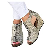 Aniywn Open Toe Wedge Shoes for Women Ankle Buckle Platform Cutout Wedge Sandals Boots Animals Print Vintage Ankle Boots Beige