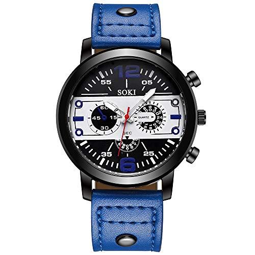 analog uhren herren Drei-Augen-Sechs-Pin-Paar Mode Mattgürtel Uhr Analog Quarz Runde Persönlichkeit arabische Digitaluhr(Blue)