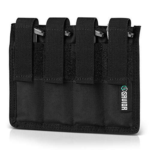Savior Equipment 4-Slot Tactical .22LR Ammo Mag Pouch - Attach to Tactical Vest or Battle Belt, Compatible with Ruger Browning Buck Mark Series & M&P22LR Magazines