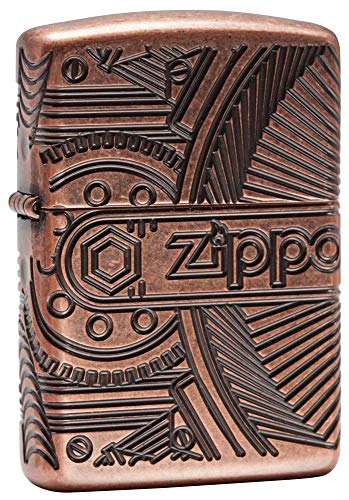 Zippo Mechanic 360 Multicut, Accendino Antivento, Ricaricabile a Benzina Unisex Adulto, Armor Antique Copper, Regular 5.7 x 3.7 x 1.2 cm