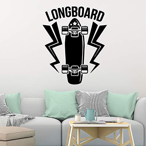 Cartoon-Stil Longboard Vinyl Tapete Home Dekoration Wohnzimmer Unternehmen Schule Büro Dekoration Wandaufkleber42cm X 51cm
