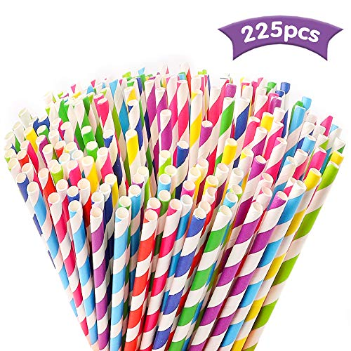 Tomnk 225PCS Stripe Paper Straw Drinking for Carious Drinking Decorations Parties Birthday Parties Weddings etc. with all the color of the rainbow