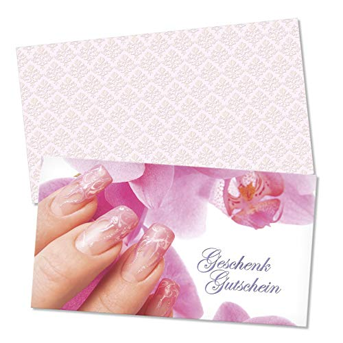 25 Gutscheinkarten + 25 Umschläge. Geschenkgutscheine für Nagelstudio Fingernagelstudio Nageldesign Nailart. Vorderseite hochglänzend. KS1219