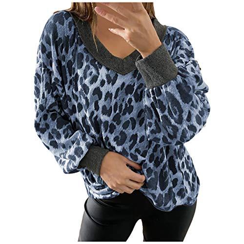 WAJLSWIK Sudaderas para mujer, de moda, casual, estampado de leopardo, cuello en V, manga larga, sueltas
