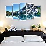 LWJPD Cuadro en Lienzo 5 Partes Hermoso Lago Azul Paisaje De Montaña Imagen Arte De La Pared Impresiones En Lienzo Oficina Decoración De La Pared De La Habitación Sin Marco 60 Inch