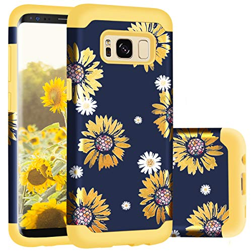 Samsung S8 Plus Case, Casewind Samsung Galaxy S8 Plus Case Sunflower Hard PC & Soft Silicone Hybrid Shockproof Anti-Scratch Slim Fit TPU Rugged Bumper Protective Galaxy S8 Plus Case for Women, Yellow