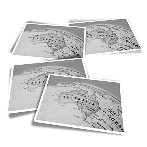 Pegatinas rectangulares de vinilo (juego de 4) – BW – Vintage Australia Map Globe Pegatinas divertidas para ordenadores portátiles, tabletas, equipaje, reserva de chatarra #38555