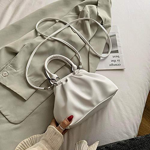 LOH Couleur Unie bandoulière en Cuir Sacs Femmes Sacs à Main d'épaule Femme fourre-Tout Dame, Blanc