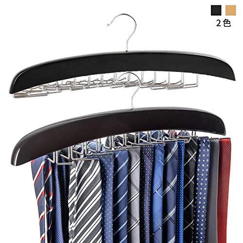 ネクタイハンガーネクタイ収納ネクタイ掛け24本掛け木製ハンガーベルト/ネクタイ/スカーフ/キャミソール収納整理滑らないハンガー(黒)