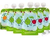 Bolsas de comida para bébés reutilizables (pack de 6), sin BPA | fácil de llenar y limpiar | ideal para batidos de fruta caseros, papi | adecuado para congelador y lavavajillas (100 ml)