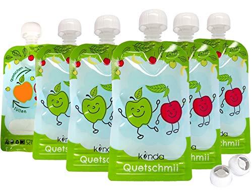 Gourdes Réutilisables pour compotes et purées (6 pack) Sans BPA, Compatibles Congélateur et Lave Vaisselle (100 ml)