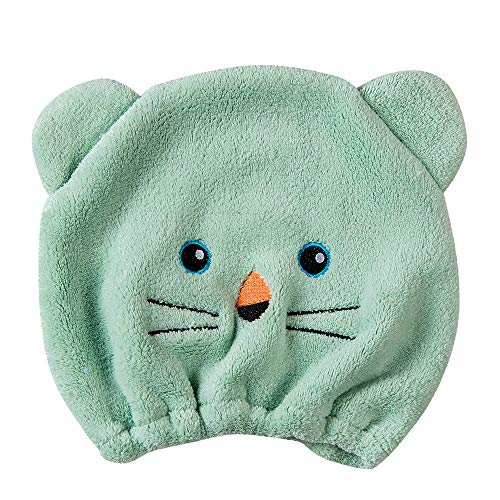 Rosennie Qualitäts Microfiber Hair Turban schnell trockenes Haar Hut gewickelt Handtuch Badekappe Trockenhauben Wasser schnell trocknende Duschhaube Badezimmer Handtuch Kopftuch saugfähigen (Grün)