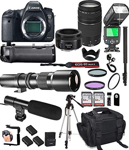 Canon EOS 6D Mark II with 50mm f/1.8 STM Prime + Tamron 70-300mm f/4-5.6 Di LD + 500mm Telephoto + 128GB Memory + Pro Battery Bundle + Power Grip + TTL Speed Light + Pro Filters,(25pc Bundle)