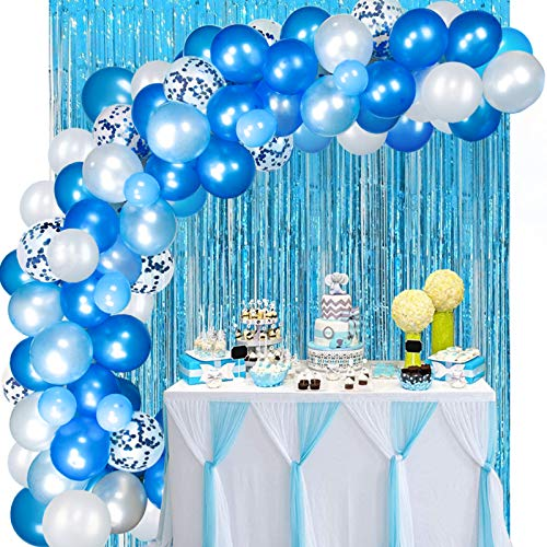 138Pcs Blue Balloon Garland Arch Kit with Foil Curtain for Baby Shower Wedding Birthday Party Decoration Supplies