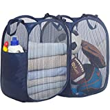 STORAGE MANIAC 2-Pack Large Pop-Up Mesh Clothes Hamper, Foldable Laundry Hamper with Sturdy Steel Wire Frame, Enlarged Opening with Side Pocket, Collapsible Laundry Basket with Durable Handles for Dorm, Apt, Bedroom, Bathroom, Laundry Room, Blue