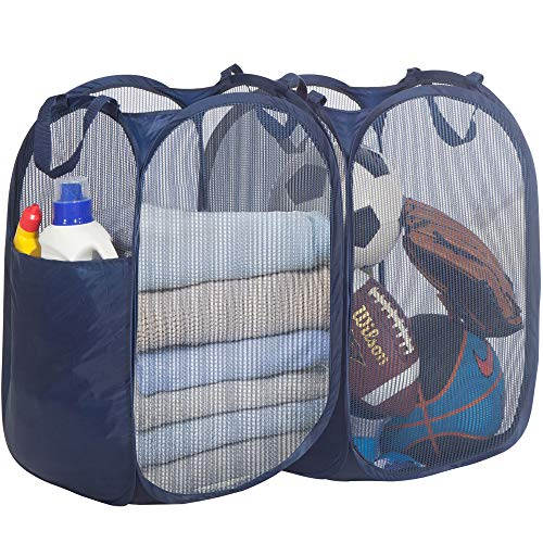 STORAGE MANIAC Pop-Up Mesh Clothes Hamper, Foldable Laundry Hamper, Side Pocket Durable Handles Enlarged Opening, 2- Pack