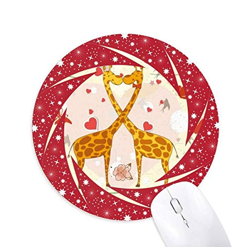 Yellow Kissing Giraffen Valentinstag Wheel Mouse Pad Round Red Rubber