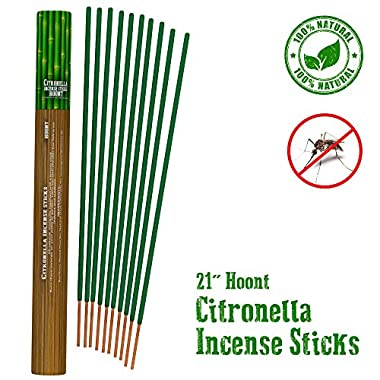 "Hoont Citronella Incense Sticks - Long Lasting 21"" Natural Mosquito Repellent – Highly Concentrated Formula and Extremely Effective (Pack of 12)"