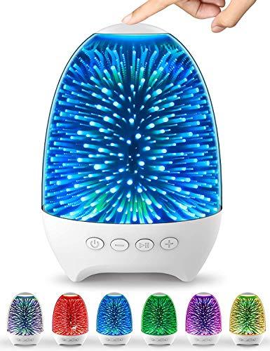 SOOTOP Lámpara de noche con altavoz Bluetooth, luz nocturna multifuncional, control táctil regulable, 7 temas de color, reproductor de MP3 de 1200 mAh con carga USB